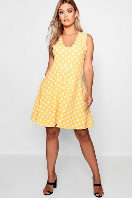 Plus Scallop Edge Polka Dot Skater Dress