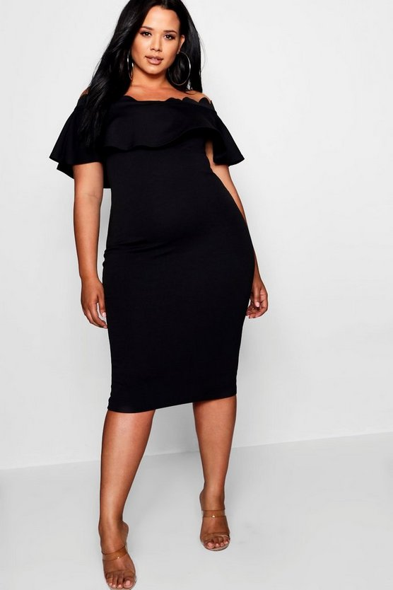 Womens Black Plus Off Shoulder Scallop Edge Midi