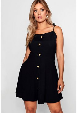 Womens Black Plus Button Down Tie Strap Skater Dress