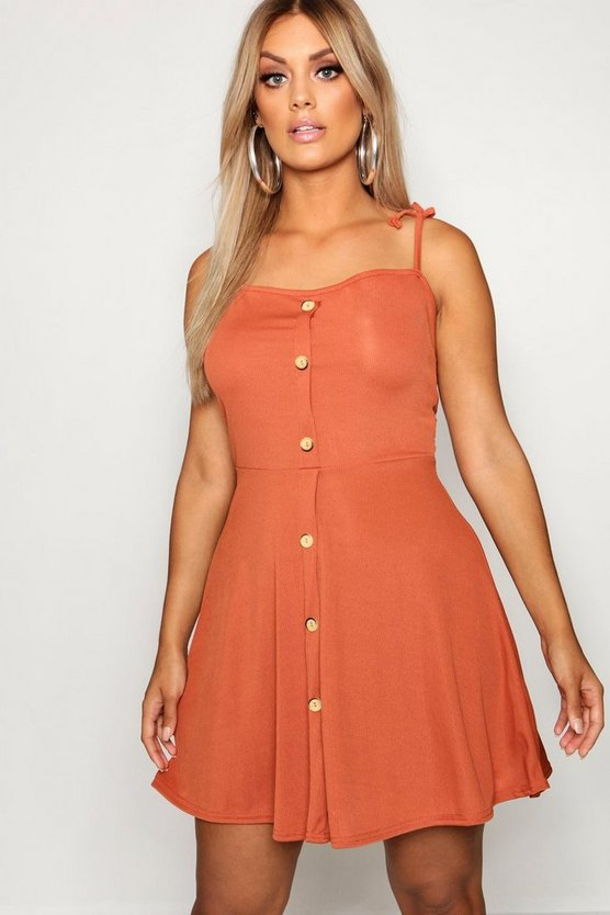 Plus Button Down Tie Strap Skater Dress