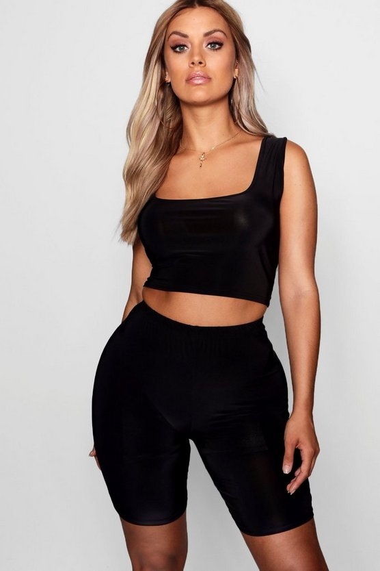 Womens Black Plus Crop & Cycling Short Slinky Co-ord