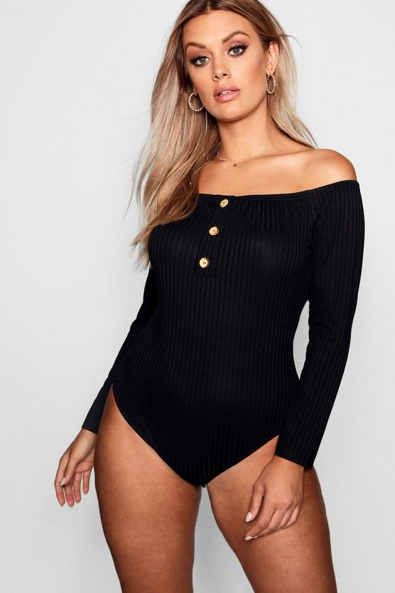 Womens Black Plus Horn Button Down Ribbed Bardot Bodysuit