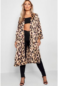 Plus Lissy Satin-Kimono in Animal-Print, Braun, Damen