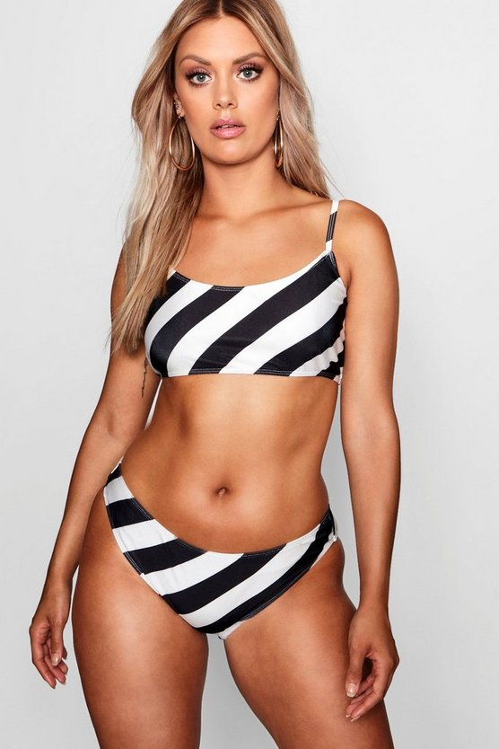 Plus Striped Crop Top & Tie Leg Bikini