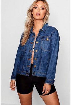 Womens Mid wash Plus Denim Jacket