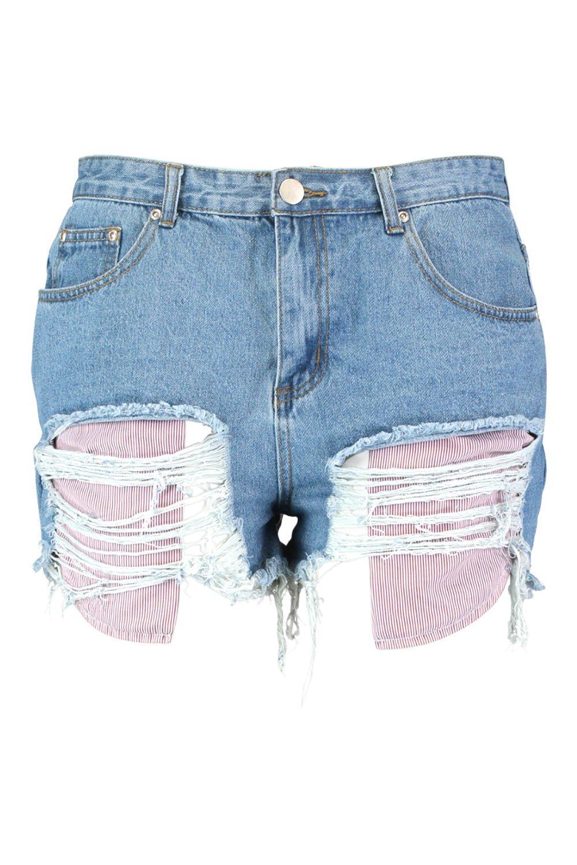 medio a con la azul en Daisy bolsillo a Shorts rayas Plus denim vista gq6WAn7F