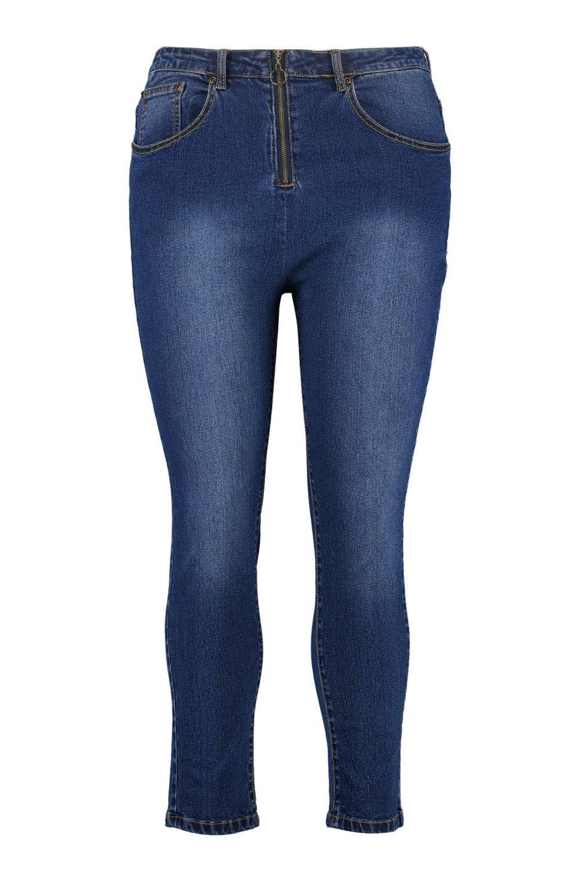 skinny de alto expuesta Jeans medio con Plus cremallera talle azul UpgwaF