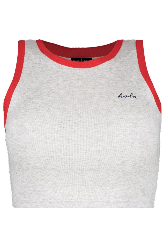 Boohoo-Petite-Traegershirt-mit-Ringerruecken-und-Hola-Slogan