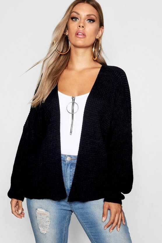 Womens Black Plus Oversized Rib Crop Cardigan