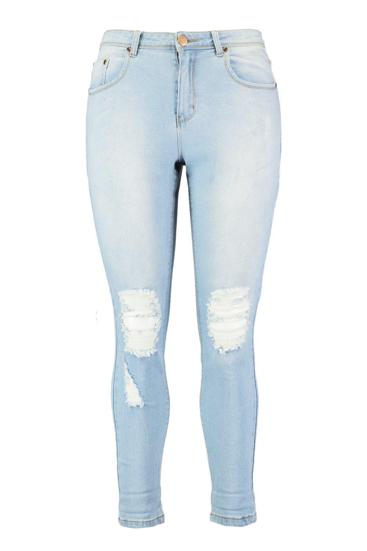 con Plus lavado elásticos rasgadas claro skinny rodillas Vaqueros pUAq7fOxwn