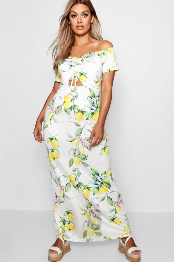 Plus Off Shoulder Slinky Lemon Maxi Dress