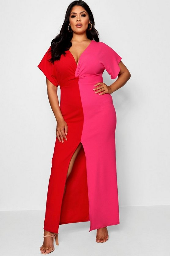 Red Plus Contrast Wrap Maxi Dress
