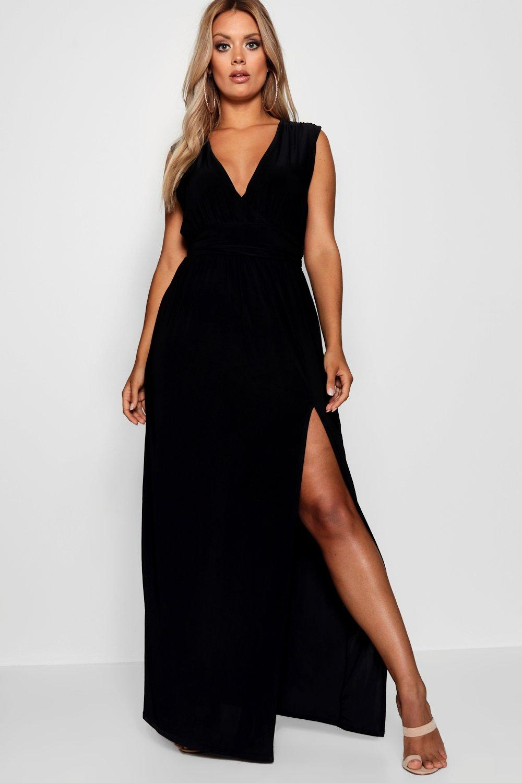 70s Dresses – Disco Dress, Hippie Dress, Wrap Dress Womens Plus Plunge Slinky High Split Maxi Dress - black - 20 $23.00 AT vintagedancer.com