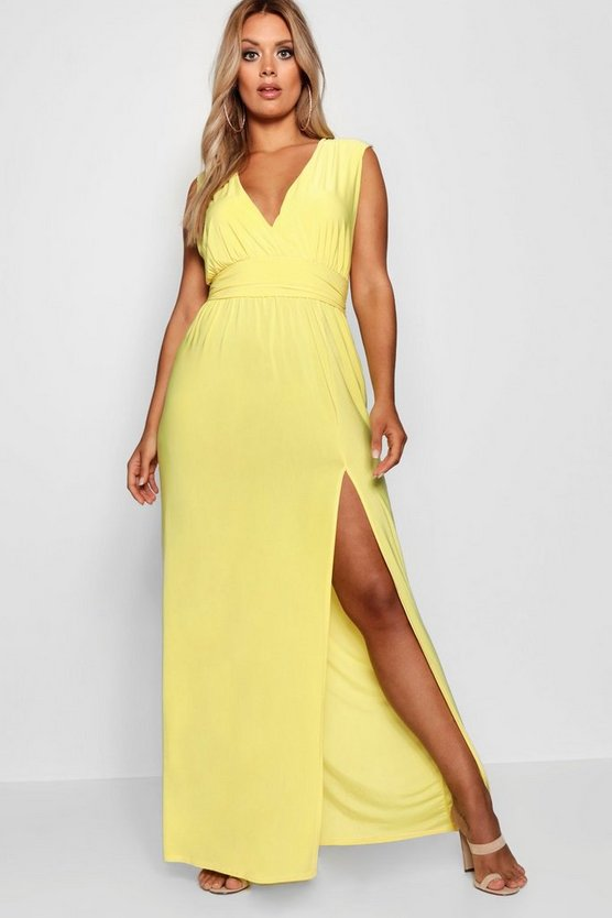 Womens Yellow Plus Plunge Slinky High Split Maxi Dress