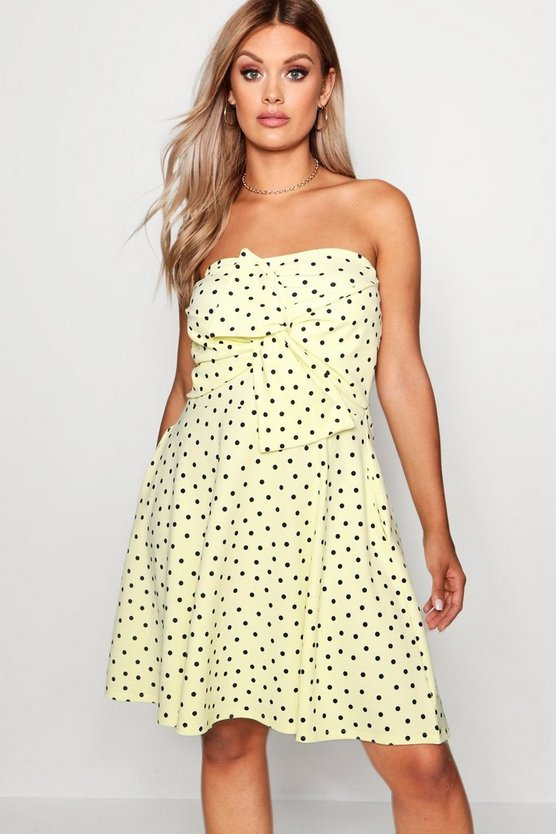 Plus Polka Dot Bow Front Skater Dress