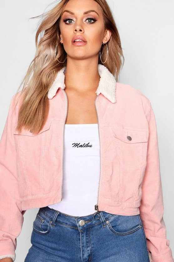 Womens Baby pink Plus Cord Borg Lined Crop Jacket