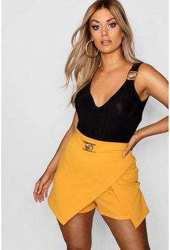 Womens Mustard Plus Wrap Buckle Detail Skort
