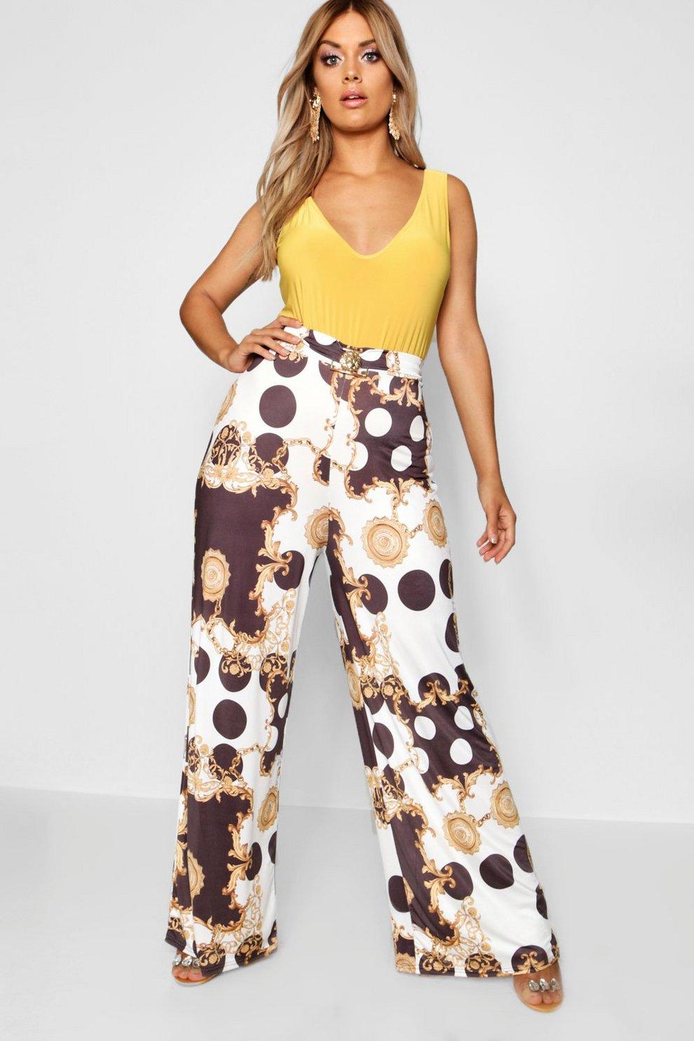 333e9bd13dfc Plus Wide Leg Chain Print Trouser | Boohoo