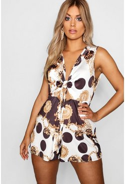Womens Black Plus Chain Print Tie Front Playsuit