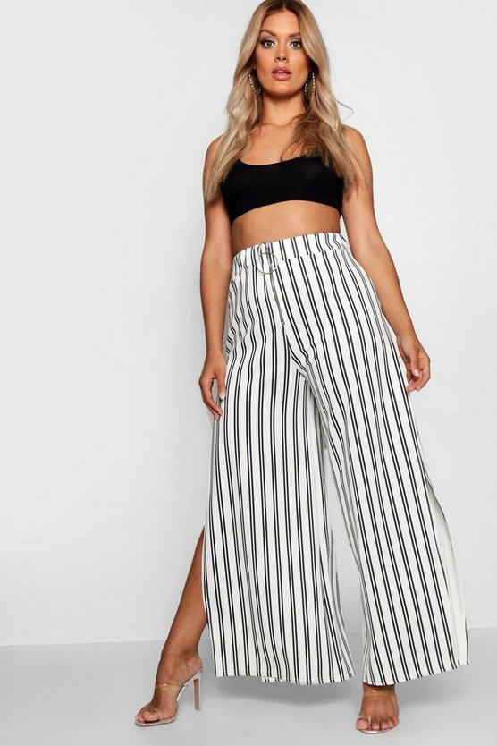 Plus Stripe Ring Pull Wide Leg Trouser