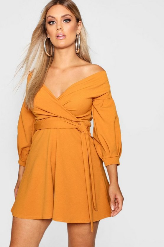 Plus Off Shoulder Skater Dress
