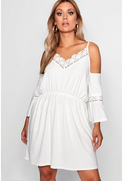 Ivory Plus Open Shoulder Crochet Dress