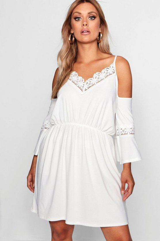 Womens Ivory Plus Open Shoulder Crochet Dress