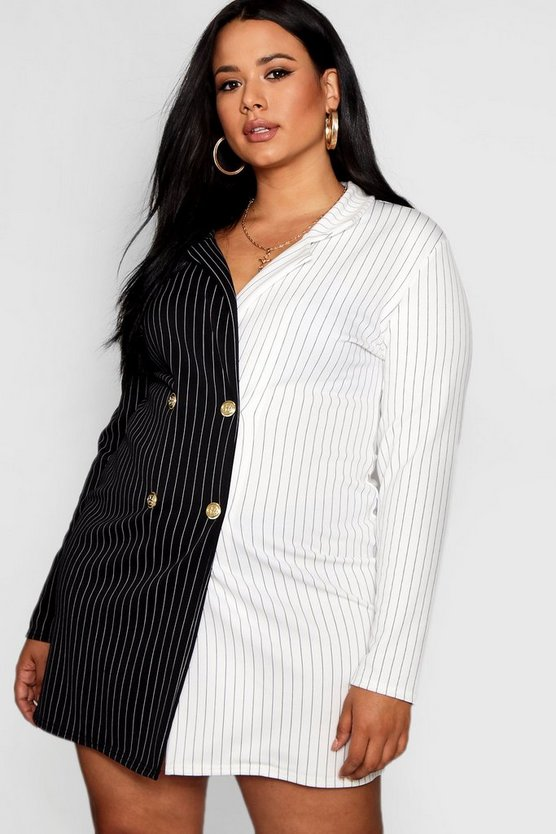Plus Bea Contrast Stripe Button Up Blazer Dress
