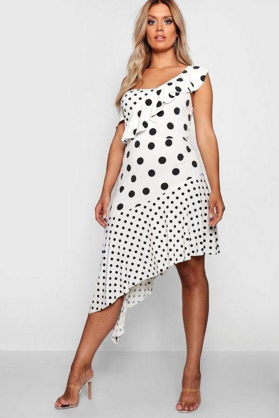 Plus Spotted Ruffle Asymmetric Midi Dress