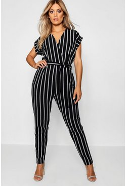 Plus Pinstripe Tailored Jumpsuit, Black, FEMMES