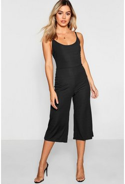 Womens Black Petite Rib Strappy Culotte Jumpsuit