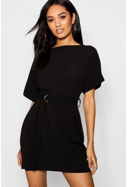 Womens Black Petite Turn Up Sleeve Waist Woven Shift Dress