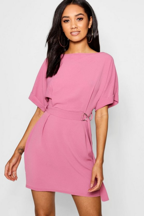 Petite Turn Up Sleeve Waist Woven Shift Dress