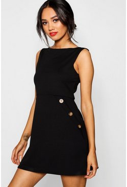 Womens Black Petite Slash Neck Mock Horn Button Shift Dress