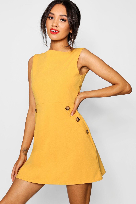 70s Dresses – Disco Dress, Hippie Dress, Wrap Dress Womens Petite Slash Neck Mock Horn Button Shift Dress - Yellow - 10 $18.00 AT vintagedancer.com