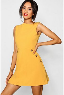 Womens Mustard Petite Slash Neck Mock Horn Button Shift Dress