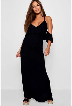 Womens Black Petite Kelly Overlay Maxi Dress