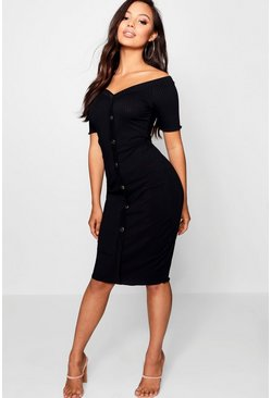 Womens Black Petite Rib Sweetheart Bardot Midi Dress