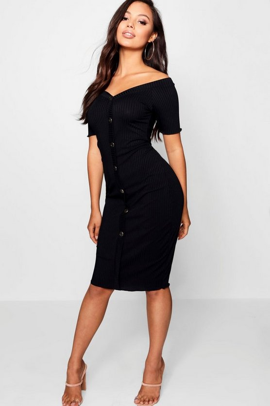 Womens Petite Rib Sweetheart Bardot Midi Dress