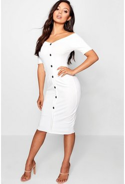 Womens White Petite Rib Sweetheart Bardot Midi Dress