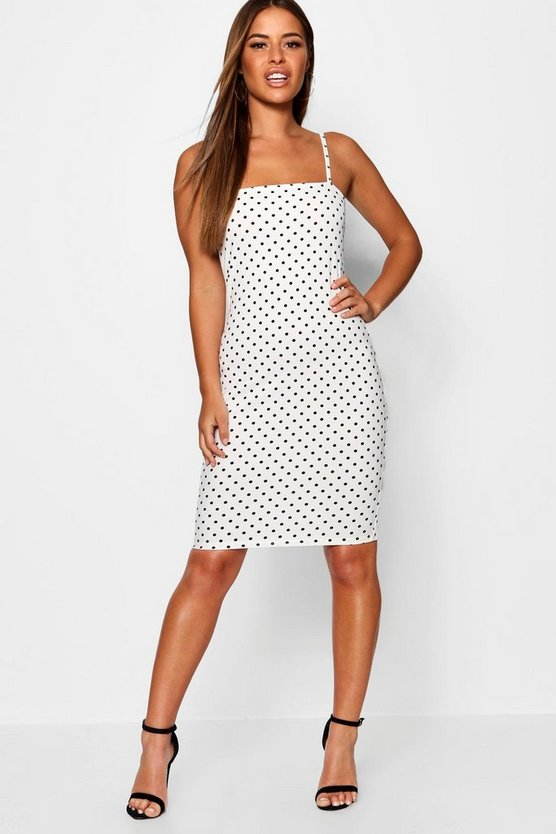Petite Polka Dot Square Neck Midi Dress