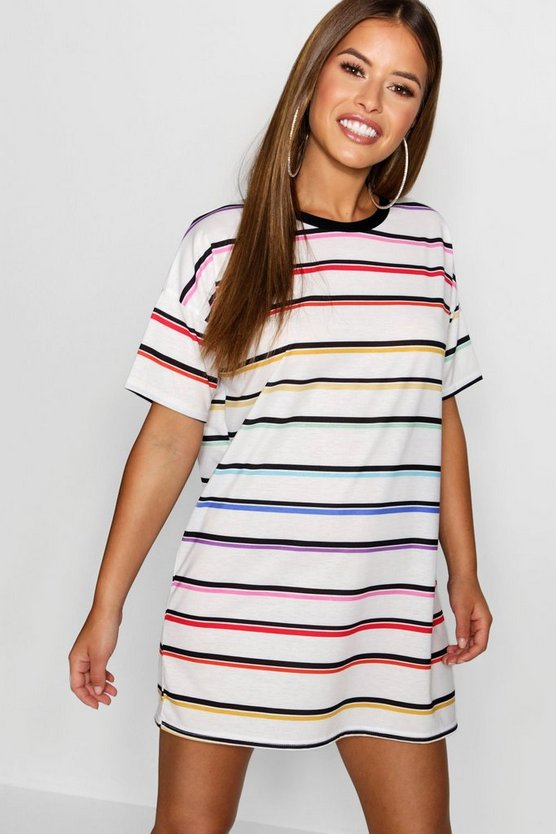 Petite White Rainbow Striped T-Shirt Dress