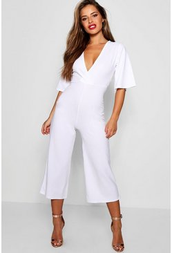 Womens White Petite Wrap Wide Leg Jumpsuit