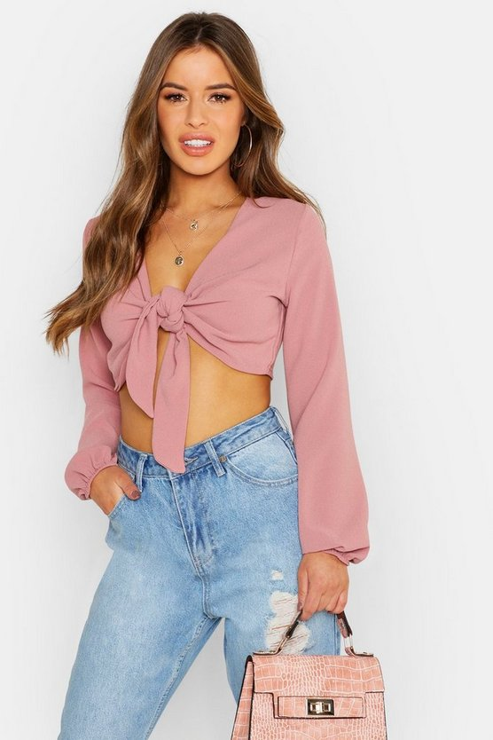 Womens Blush Petite  Tie Front Crop Top
