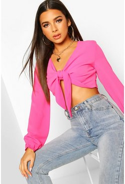 Bright pink Petite Tie Front Crop Top
