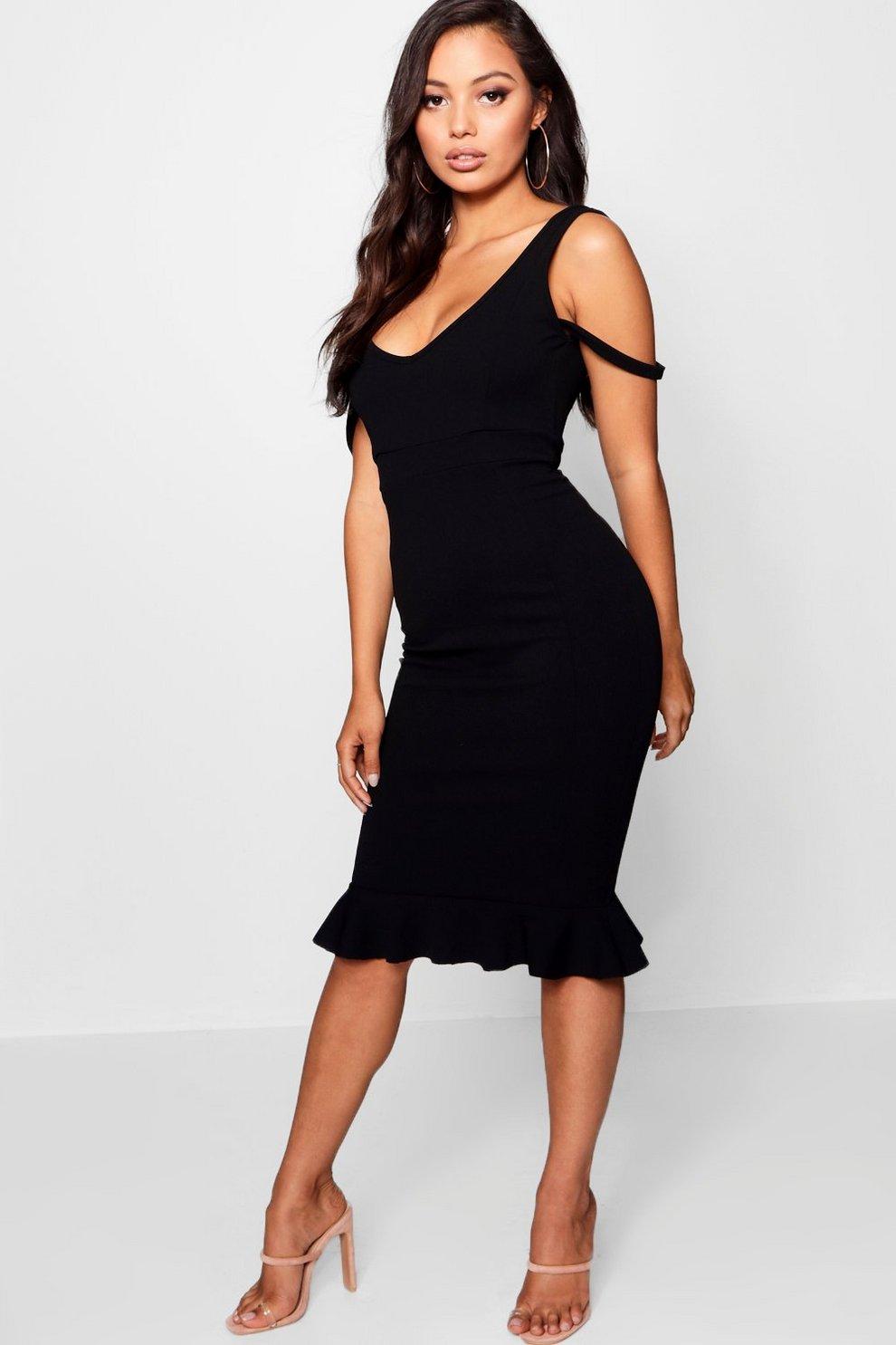 4a356e5165b Womens Petite Plunge Neck Crepe Pep Hem Midi Dress