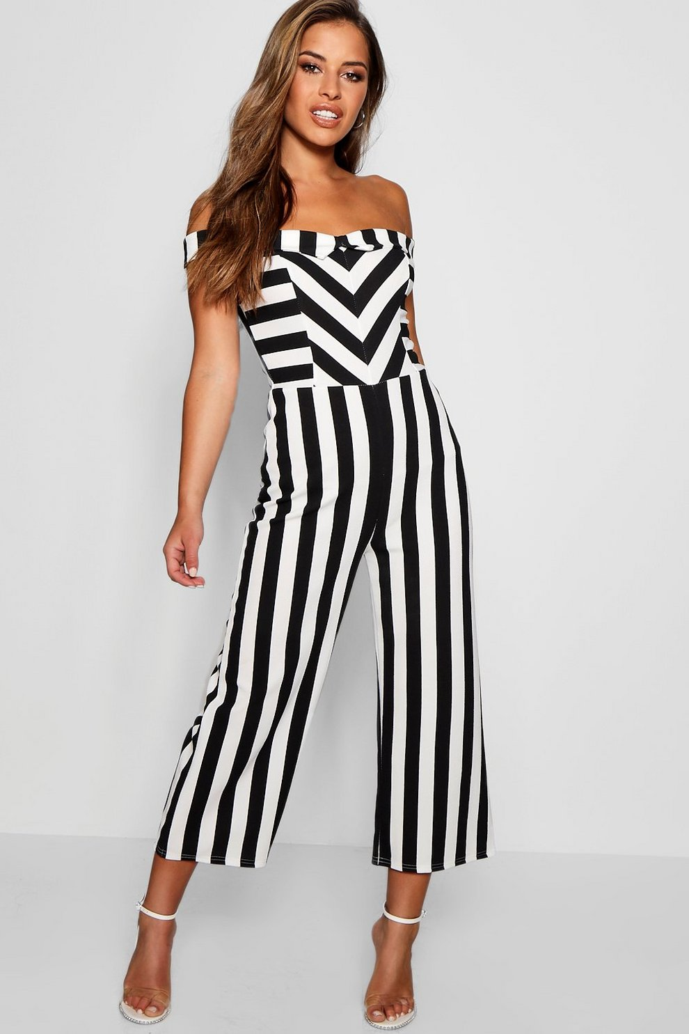 b6da9b901e Petite Bardot Stripe Culotte Jumpsuit | Boohoo