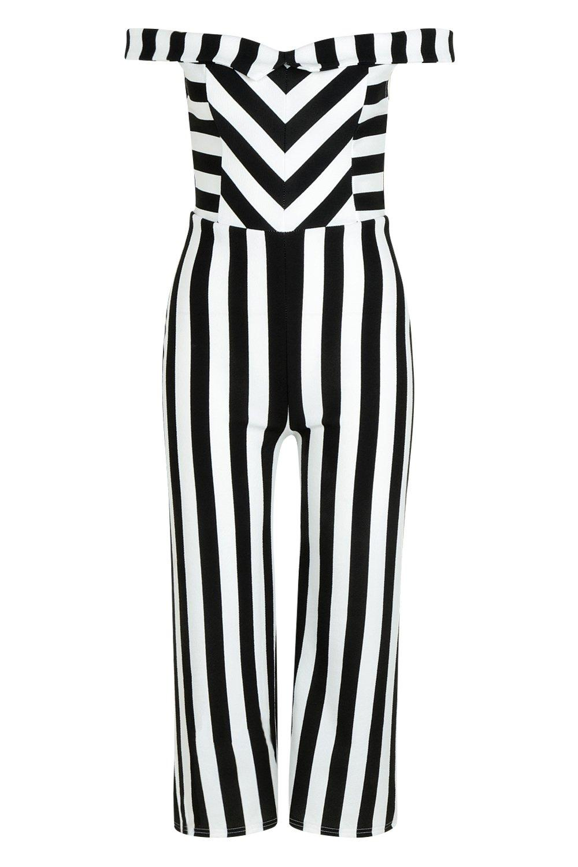a rayas Mono Petite negro Bardot culottes estilo wxtOnOqHa6