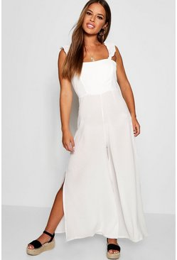 Womens White Petite Niamh Frill Shoulder Woven Jumpsuit