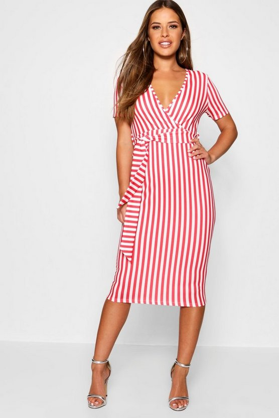 Petite Stripe Wrap Tie Midi Dress